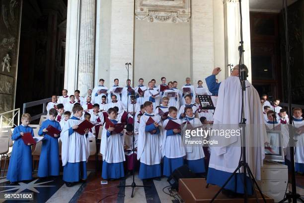 Hereford Cathedral Choir perform during the solemnity of Saints Peter and Paul celebrated by Pope Francis with newly created cardinals at St Peter's...