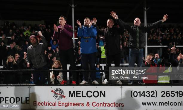 Hereford fans during the Emirates FA Cup Second Round Replay at Edgar Street Hereford