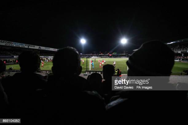 Hereford go close during the Emirates FA Cup Second Round Replay at Edgar Street Hereford