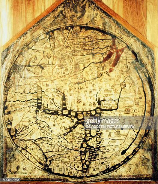 Hereford mappa mundi 12761283 made by Richard of Haldingham ink and watercolour on parchment Hereford cathedral United Kingdom