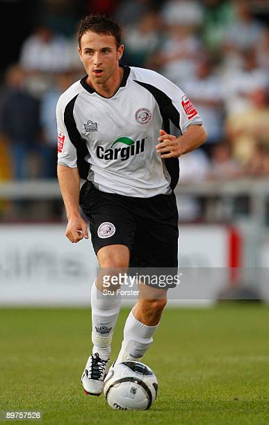 Hereford player Marc Pugh runs with the ball during the Carling Cup 1st round game between Hereford United and Charlton Athletic at Edgar Street on...
