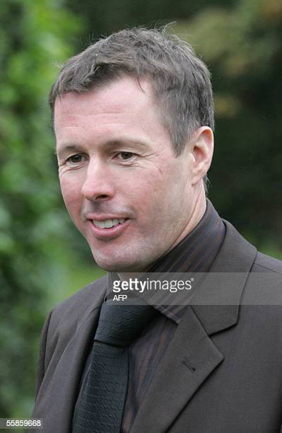British rally driver Colin McRae arrives for the funeral of rally codriver Michael Park at Bartholomew's Church in Herefordshire 06 October 2005 Park...
