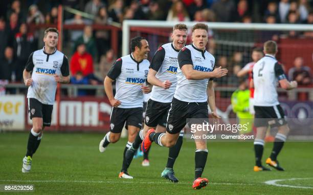 Hereford's Calvin Dinsley celebrates scoring the opening goal during the Sky Bet League One match between Fleetwood Town and Peterborough United at...