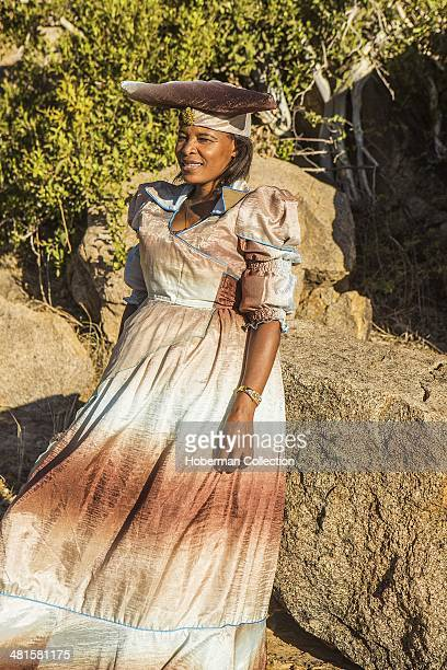 Herero African Woman With Traditional Clothing Hairstyle and Jewelry Namibia