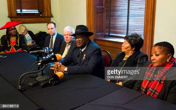 Herero chief Vekuii Rukoro speaks during a news conference while other members of the delegation listen on March 16 2017 in New York More than a...
