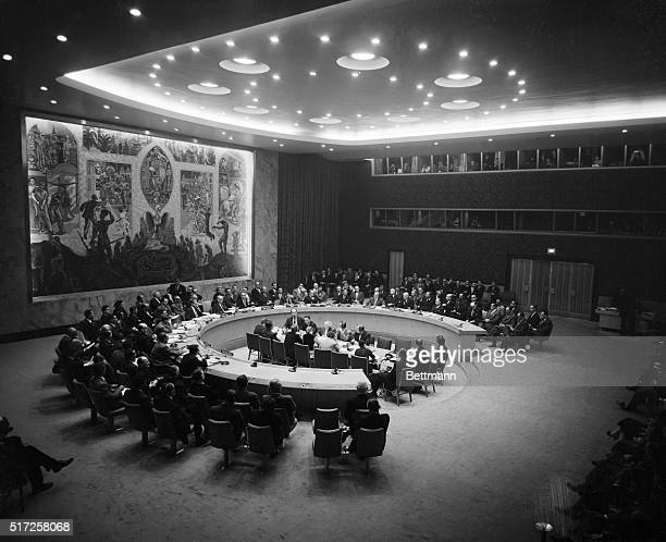 Here's a general view of the Security Council as it convened to consider the Suez Canal controversy. The 11 nation body heard speeches by Selwyn...