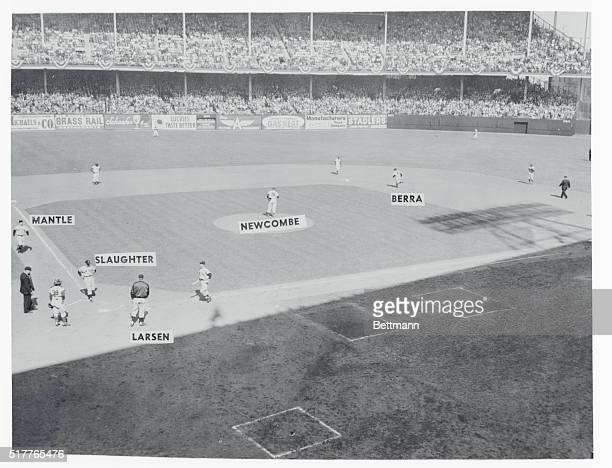 Here's a view of the diamond at Ebbet's Field after Yankee catcher Yogi Berra hit one over the wall with the bases loaded in the second inning of the...