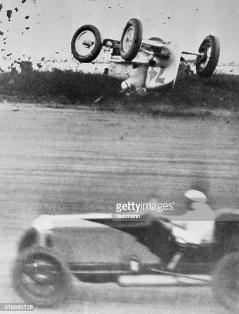 Here's Pierce Bertrand's idea of how not to spend a pleasant Sunday afternoon. The daring Frenchman skidded into the mushy ground on the south turn...