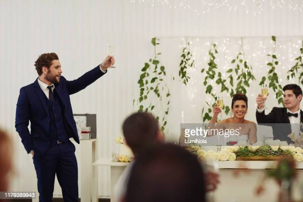 here's to an unforgettable couple and an unforgettable day - speech stock pictures, royalty-free photos & images