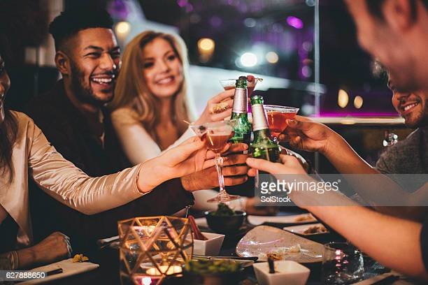 here's to the new year! - cocktail stock pictures, royalty-free photos & images