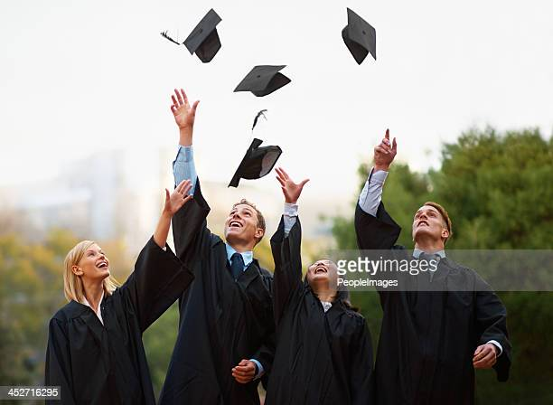 here's to the rest of our lives! - graduation clothing stock pictures, royalty-free photos & images