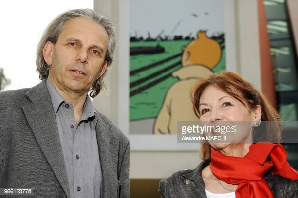 Herge Studio official Nick Rodwell and the widow of Tintin creator Herge Fanny Rodwel