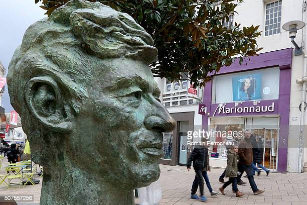 Herge's statue looks on in Herge street in Angouleme during 41st International Cartoonists Festival opening on January 30 2016 in Angouleme France