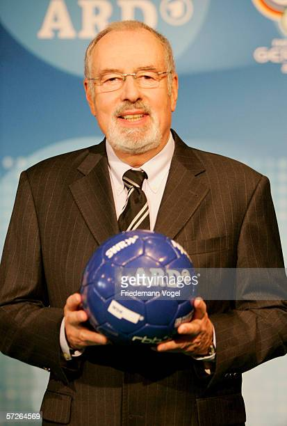 Heribert Fassbender head of the ARD team poses for the media before a press conference of German TV channels ARD and ZDF at the Hotel Le Royal...