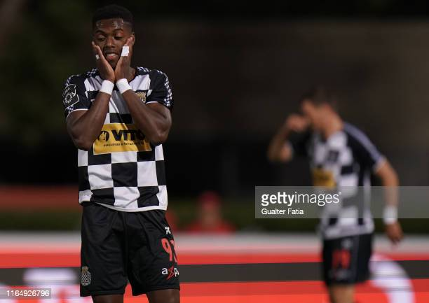 Heriberto Tavares of Boavista FC reaction after missing a goal opportunity during the Liga NOS match between Belenenses SAD and Boavista FC at...