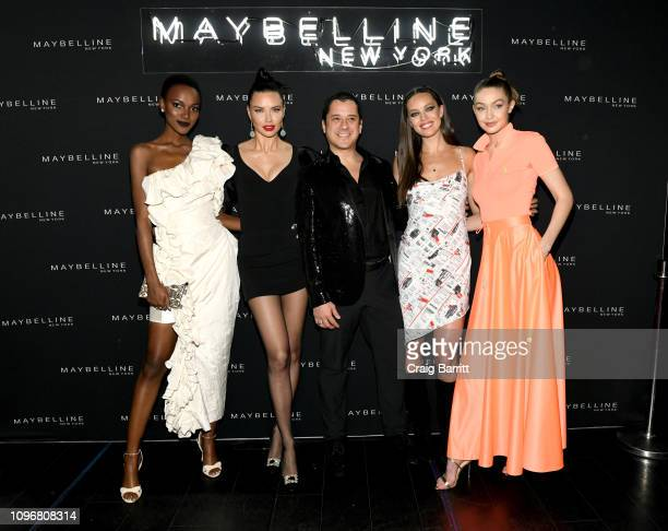 Herieth Paul Adriana Lima Global President of Maybelline New York Leo Chavez Emily DiDonato and Gigi Hadid attend the Maybelline New York Fashion...