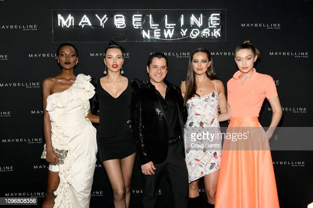 Herieth Paul, Adriana Lima, Global President of Maybelline New York Leo Chavez, Emily DiDonato, and Gigi Hadid attend the Maybelline New York Fashion...