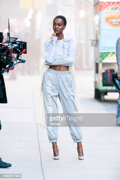 Herieth Paul is seen during a photo shoot for Maybelline in the Flatiron District on January 11 2019 in New York City
