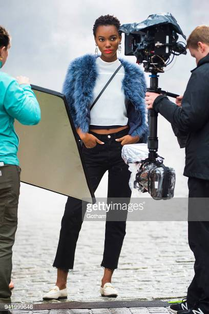 Herieth Paul is seen during a photoshoot for Maybelline in Tribeca on April 4 2018 in New York City