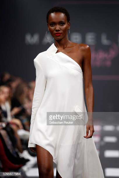 Herieth Paul walks the runway at the Maybelline New York show 'Makeup that makes it in New York' during the Berlin Fashion Week Autumn/Winter 2019 at...