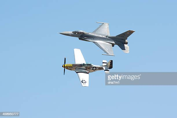 heritage flight of p-51 and f-16 - p 51 mustang stock photos and pictures