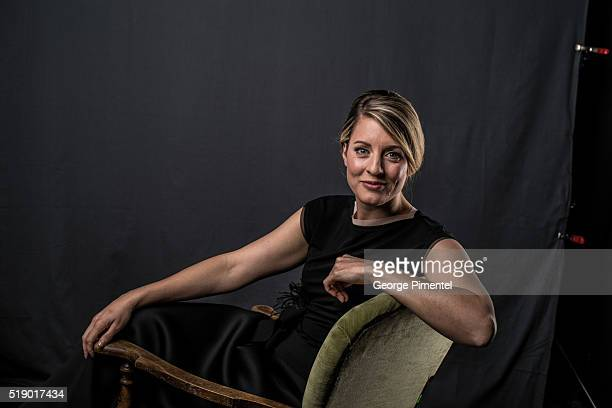 Heritage Minister Melanie Joly poses at the 2016 Juno Awards Portrait Studio at Scotiabank Saddledome on April 3 2016 in Calgary Canada