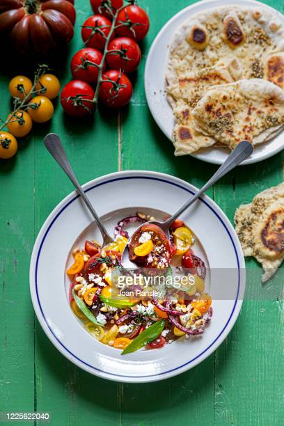 heritage tomato salad - mediterranean culture stock pictures, royalty-free photos & images