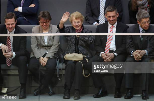 Herlind Kasner , mother of German Chancellor Angela Merkel, waves to her daughter during Merkel's election by the Bundestag for a fourth term as...