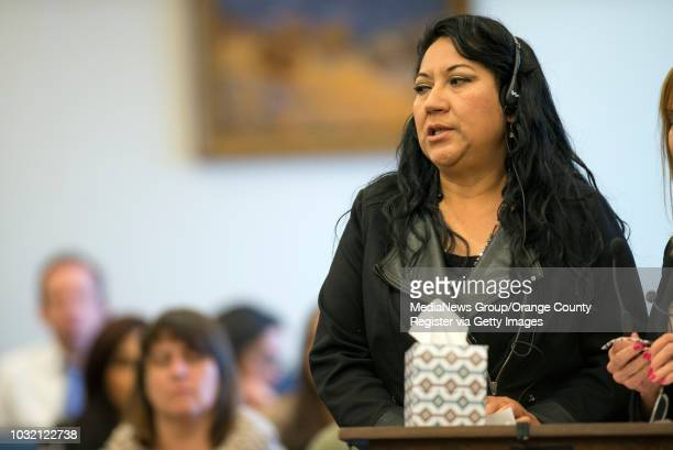 Herlinda Salcedo mother of murder victim Martha Anaya delivers a victim impact statement during the sentencing of Steven Gordon in Santa Ana...