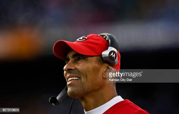 Herm Edwards during a Kansas City Chiefs game on Sunday November 9 2008 at Qualcomm Stadium in San Diego Calif Edwards is now coach at Arizona State