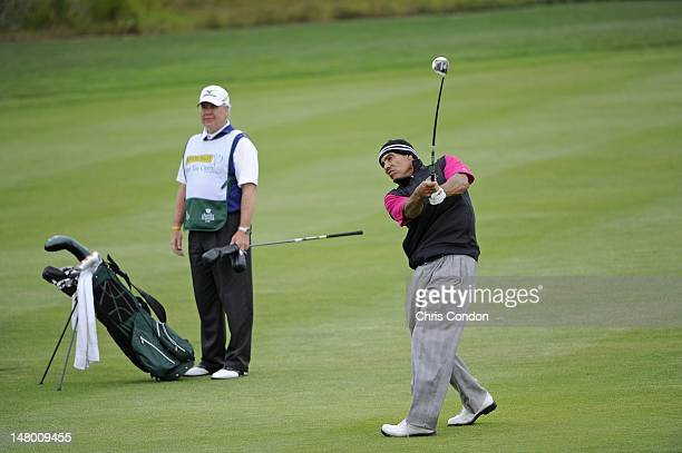 Herm Edwards plays from the sixth fairway during the second round of the Nature Valley First Tee Open at Pebble Beach at Pebble Beach Golf Links on...