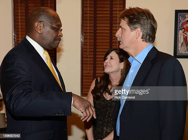 Herman Cain Comedian Jeff Foxworthy and his Wife Gregg Foxworthy attend The Boortz Happy Ending at The Fox Theater on January 12 2013 in Atlanta...