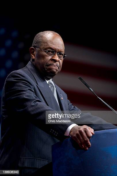 Herman Cain former CEO Godfather's Pizza speaks at the 2012 Conservative Political Action Conference in Washington DC