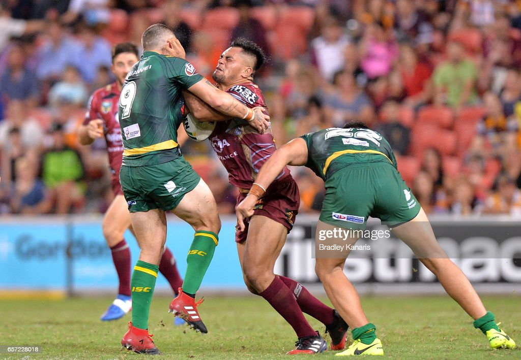 Herman Ese'Ese of the Broncos takes on the defence during the round four NRL match between the Brisbane Broncos and the Canberra Raiders at Suncorp Stadium on March 24, 2017 in Brisbane, Australia.