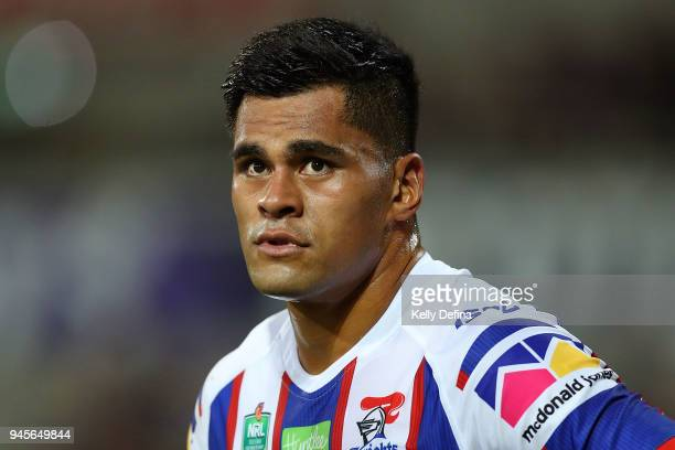 Herman Ese'ese of the Knights looks on during the round six NRL match between the Melbourne Storm and the Newcastle Knights at AAMI Park on April 13...