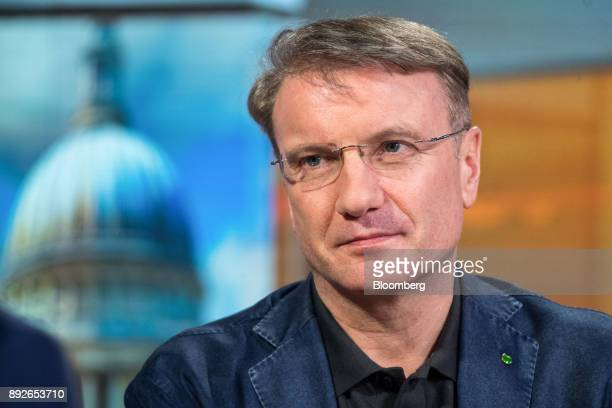 Herman Gref chief executive officer of Sberbank PJSC pauses during a Bloomberg Television interview in London UK on Thursday Dec 14 2017 Sberbank...