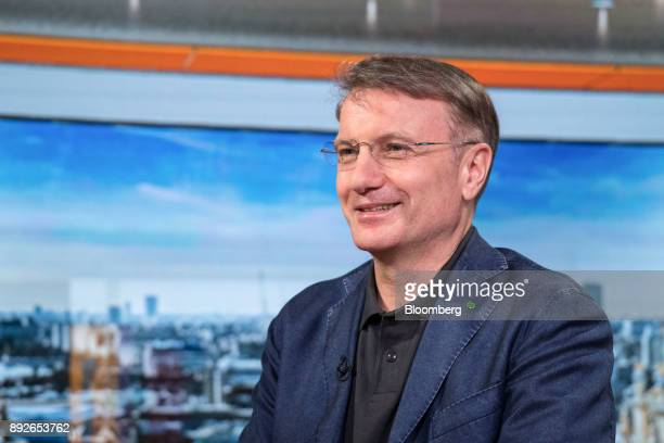 Herman Gref chief executive officer of Sberbank PJSC reacts during a Bloomberg Television interview in London UK on Thursday Dec 14 2017 Sberbank...