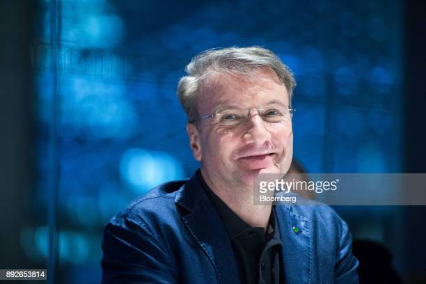 Herman Gref chief executive officer of Sberbank PJSC reacts during an interview in London UK on Thursday Dec 14 2017 Sberbank Russia's most valuable...