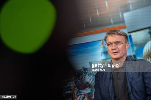 Herman Gref chief executive officer of Sberbank PJSC speaks during a Bloomberg Television interview in London UK on Thursday Dec 14 2017 Sberbank...