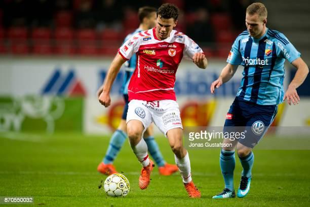 Herman Hallberg of Kalmar FF running with the ball during the allsvenskan match between Kalmar FF and Djurgarden IF at Guldfageln Arena on November 5...