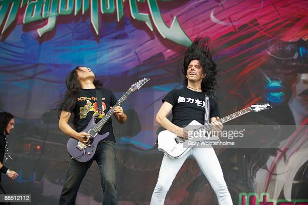 Herman Li and Sam Totman of Dragonforce performs on stage on day 2 of Download Festival at Donington Park on June 13 2009 in Donington England