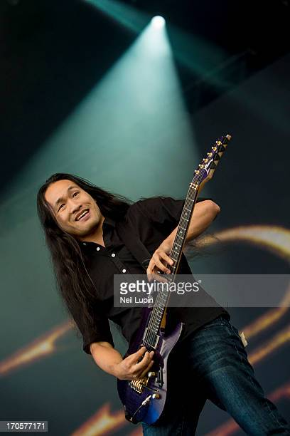 Herman Li of Dragonforce performs on stage on Day 1 of Download Festival 2013 at Donnington Park on June 14 2013 in Donnington England