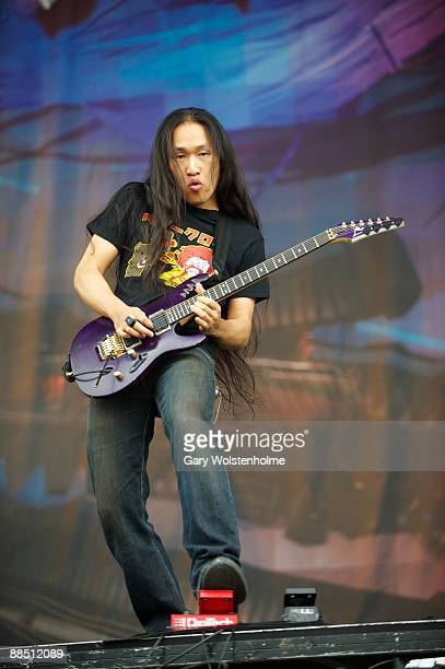 Herman Li of Dragonforce performs on stage on day 2 of Download Festival at Donington Park on June 13 2009 in Donington England