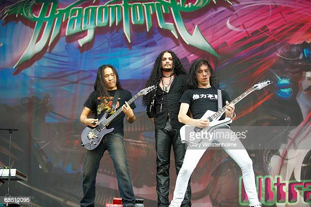 Herman Li ZP Theart and Sam Totman of Dragonforce performs on stage on day 2 of Download Festival at Donington Park on June 13 2009 in Donington...