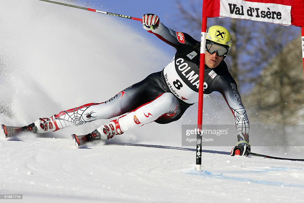 Herman Maier of Austria in action during the FIS Ski World Cup 2005 Mens Super Giant Slalom Slalom event on December 12, 2004 in Val D'Isere, France.