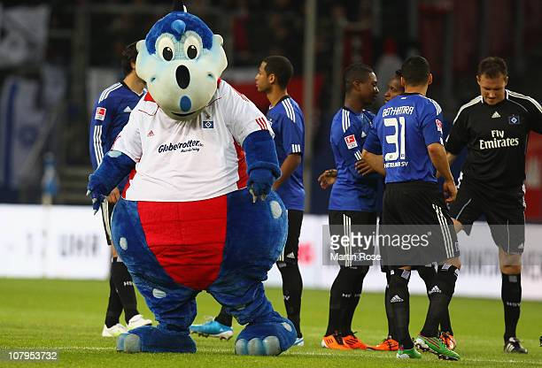Herman mascot of Hamburg looks on after the friendly match between Hamburger SV and Ajax Amsterdam at Imtech Arena on January 2011 in Hamburg Germany