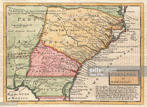 1746 Herman Moll Map of Carolina