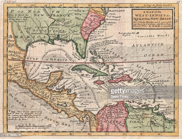 1732 Herman Moll Map of the West Indies and Caribbean
