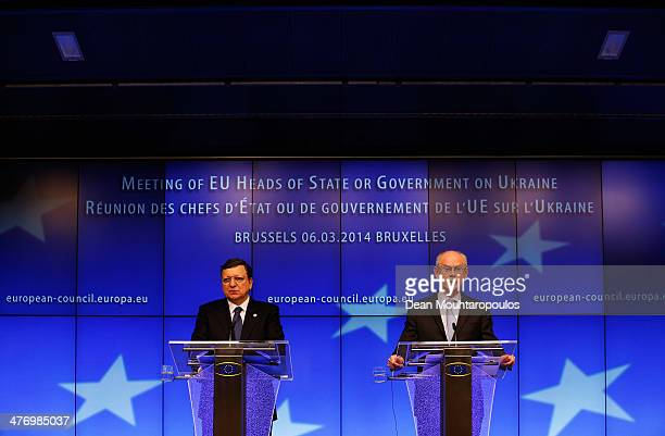 Herman Van Rompuy , President of the European Council and Jose Manuel Durao Barroso , President of the European Commission speak to the media during...