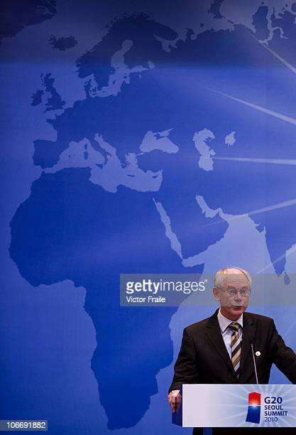 Herman Van Rompuy President of the European Council attends a news conference during day one of the 2010 G20 Summit on November 11 2010 in Seoul...